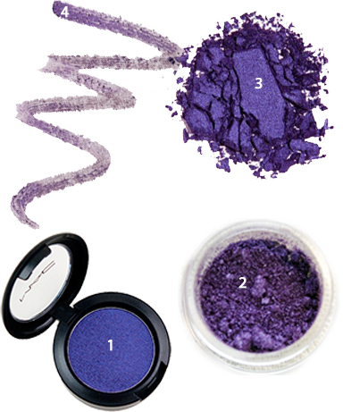 Violet eye shadows and eyeliner